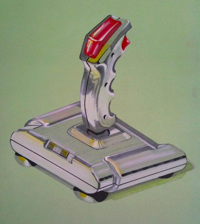 QuickShot II joystick in marker, kruit en plakkaatverf op groen karton