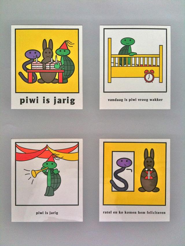 Piwi, een Nijntje rip-off, getekend op de computer en ingekleurd met plakkaatverf