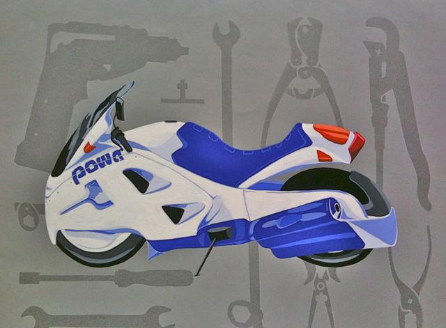 Custom motorfiets in plakkaatverf en spuitbus op grijs karton