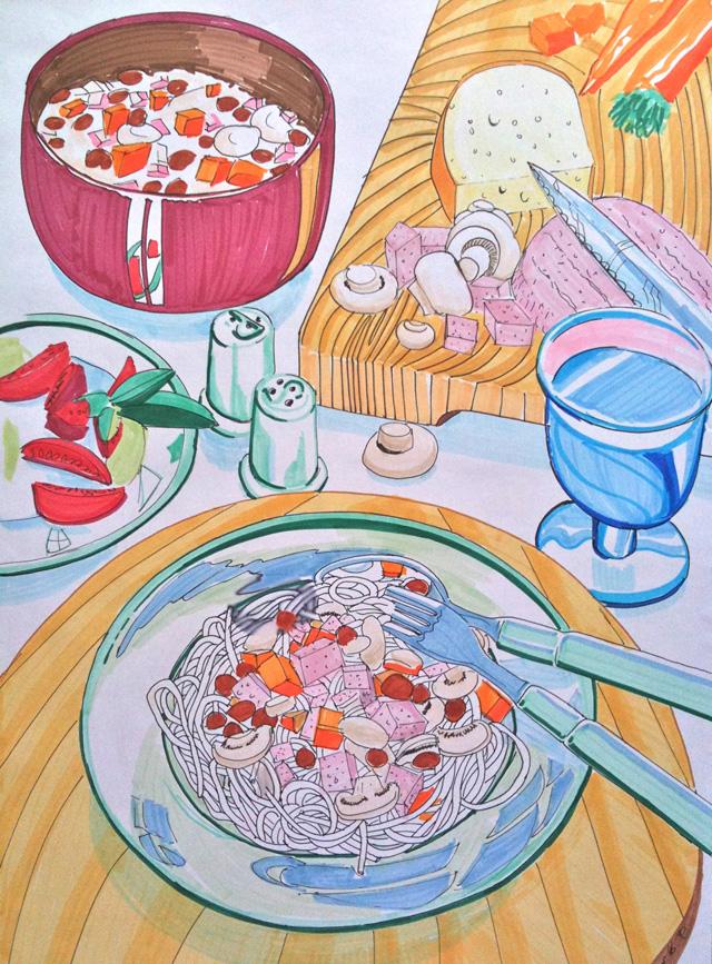 Italiaanse maaltijd in stift en markers op markerpapier