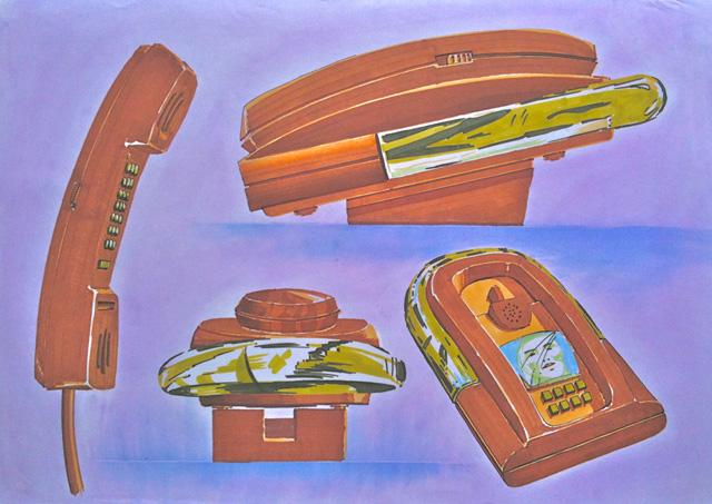 Schetsen voor een beeldtelefoon in markers en krijt