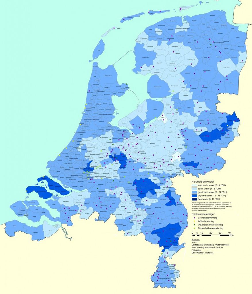 Hardheid van het drinkwater in Nederland in 2012 per gemeente