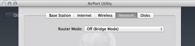 Het Airport-Configuratieprogramma Netwerk venster met Router Mode: Off (Bridge Mode)