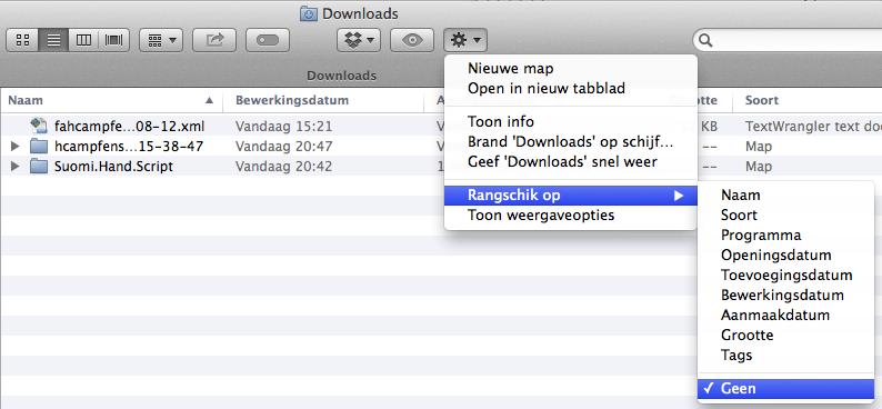 Zet rangschikken uit om je Mac OS X folders weer uit te kunnen klappen met de driehoekjes.
