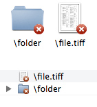 Examples of folder and file icons with an overlay with an x in a red dot