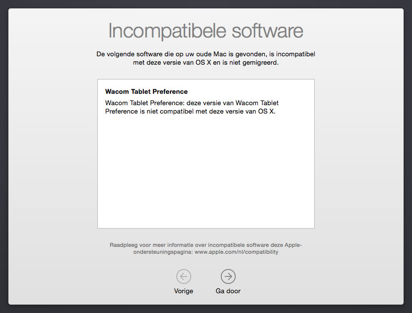 OS X Yosemite Incompatibele software Wacom Tablet  melding bij updaten