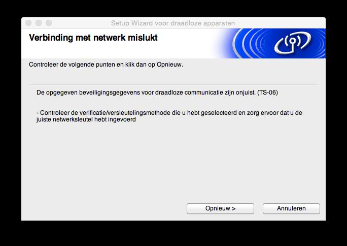 Verbinding met netwerk mislukt